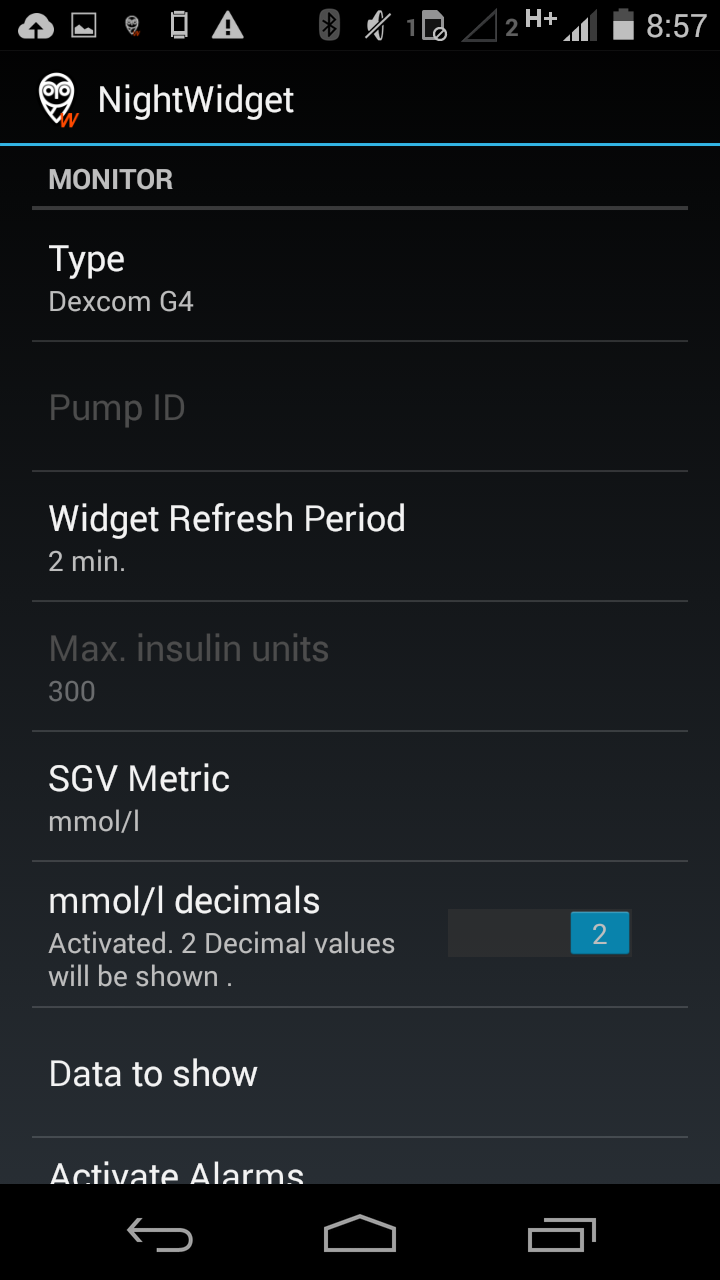 Use NightWidget to view data on your Android phone (Optional